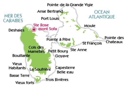 carte de la guadeloupe avec la localisation des gîtes